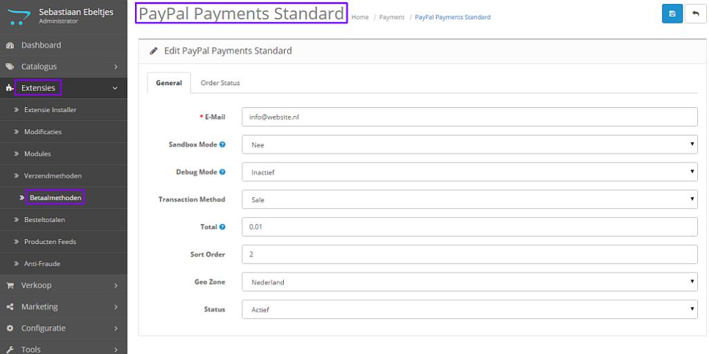 opencart 2.x betaling paypal toevoegen 01