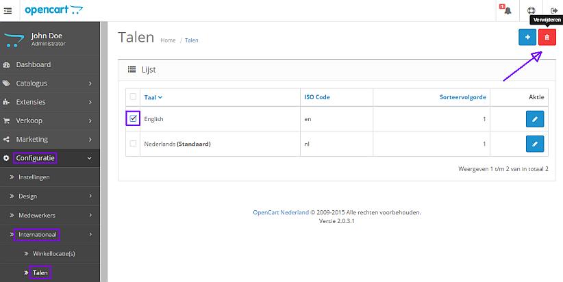opencart 2.x engelse taal verwijderen