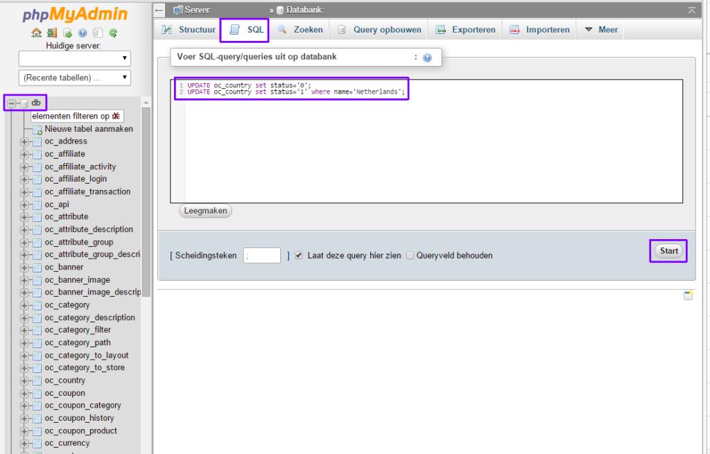 opencart 2.x landen instellen met sql query 01