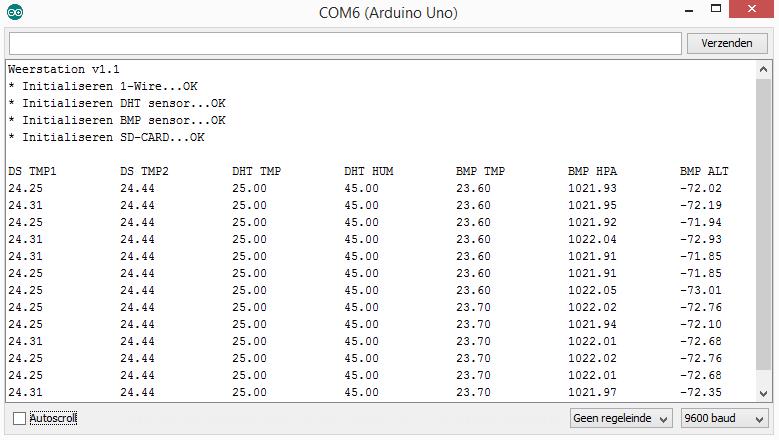 DomoticX - Arduino weerstation 1.1 serial output