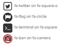 Font Awesome iconen over elkaar voorbeeld