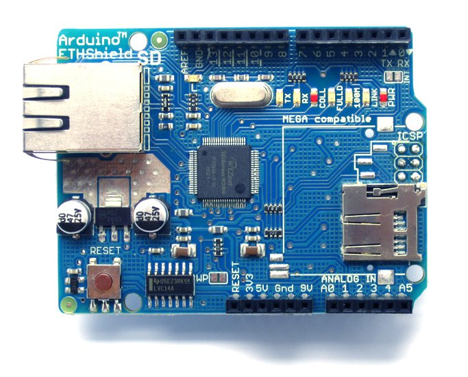 Arduino Ethernet + Micro SD Shield (W5100) bovenkant