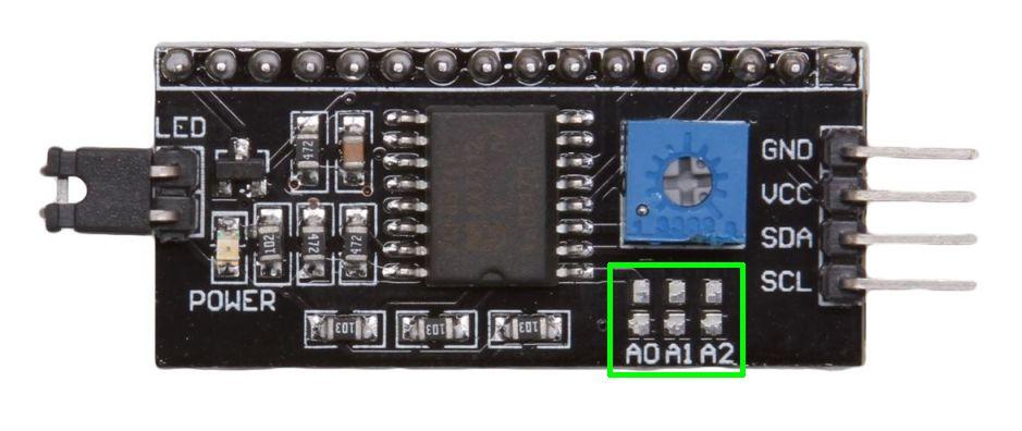Display LCD I2C interface module i2c adres aanpassen
