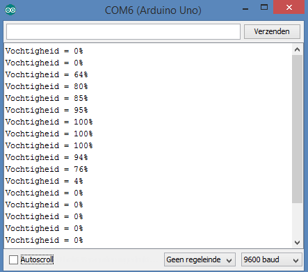 Grondvochtigheid sensor module percentage arduino console