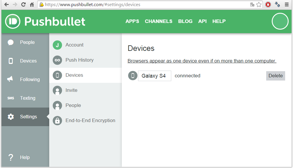 Pushbullet configuratie apparaatnaam