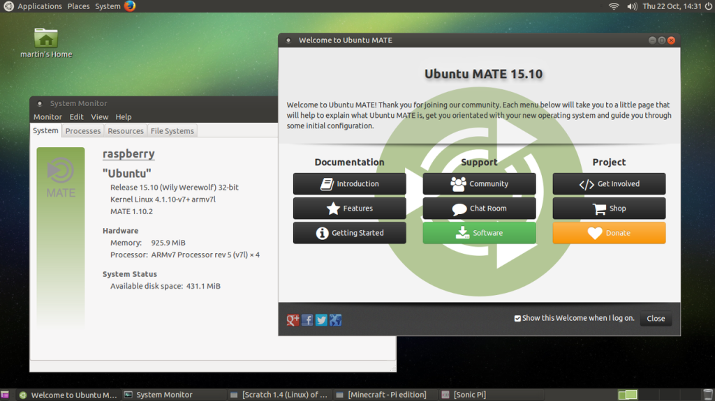 Ubuntu MATE screen