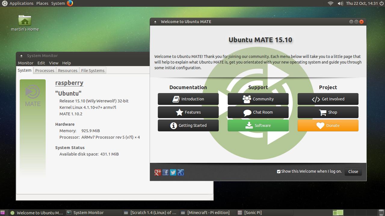 Raspberry Pi SD image - Ubuntu MATE (Linux OS)