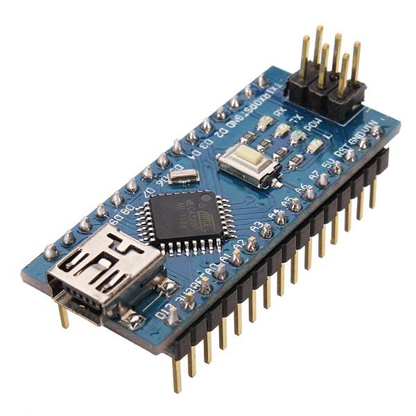 Arduino NANO R3 + USB Kabel (Funduino) zijkant