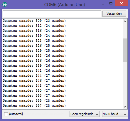 Arduino NTC console zonder bibliotheek