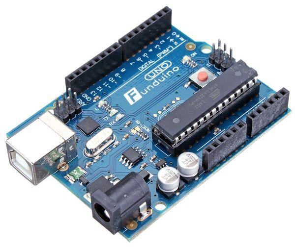 Arduino UNO R3 + USB Kabel (Funduino) zijkant