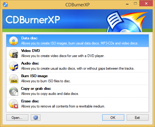 CDBurnerXP screen 01