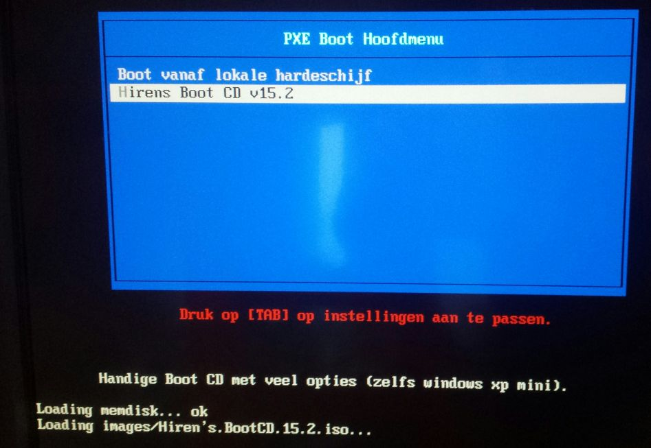 PXE Boot LAN Hirens ISO laden