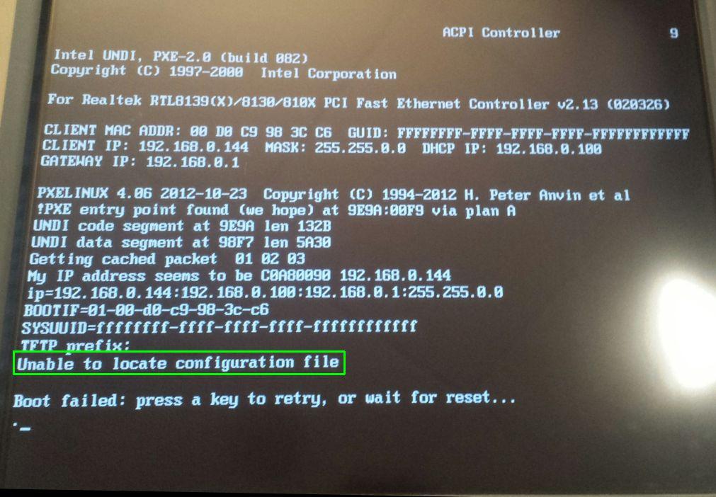 PXE Boot geen configuratie gevonden
