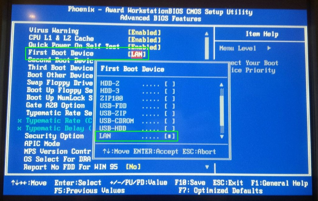PXE Boot in BIOS optie LAN