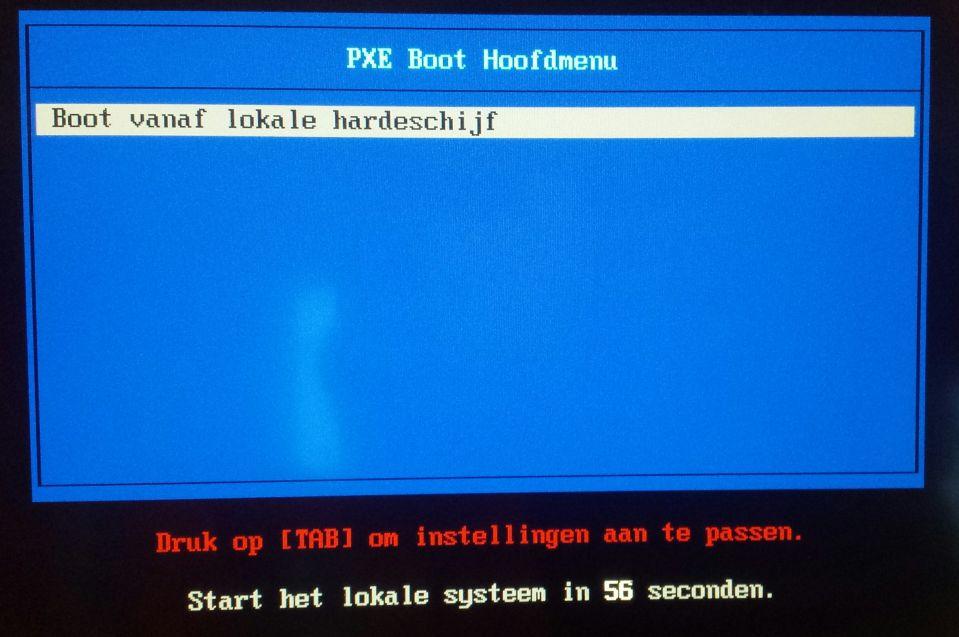 PXE Boot menu leeg