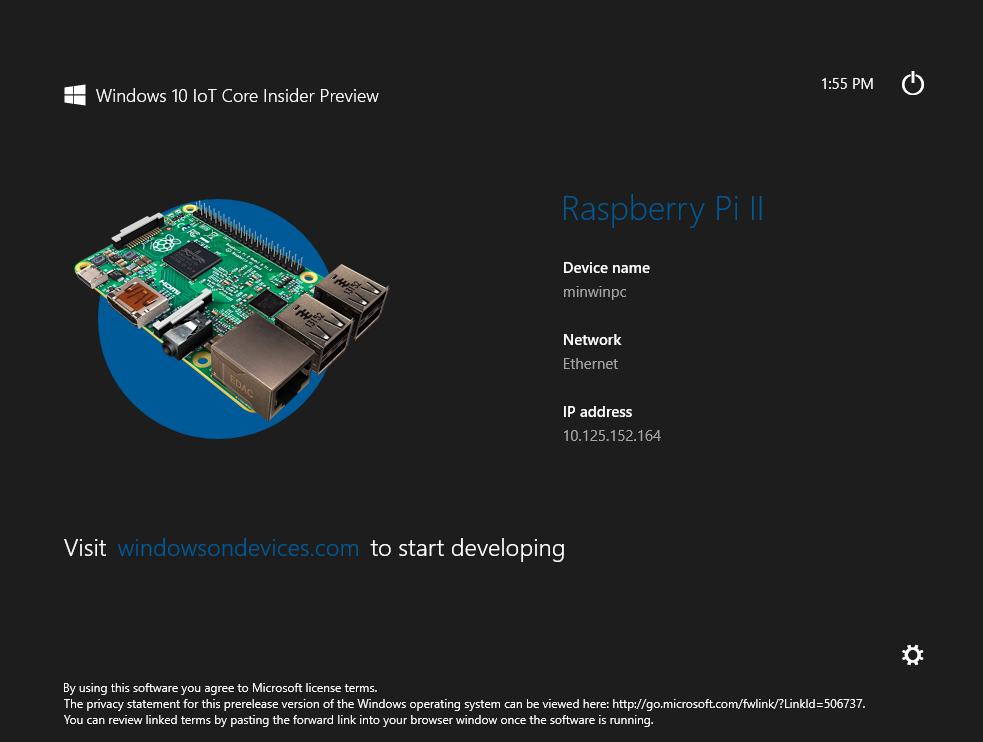 Windows 10 IoT screen