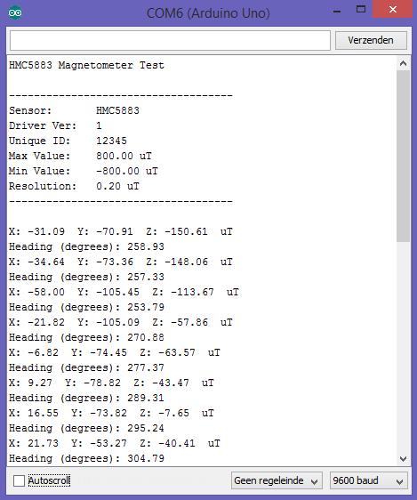 Kompas 3-assen HMC5883L arduino console output