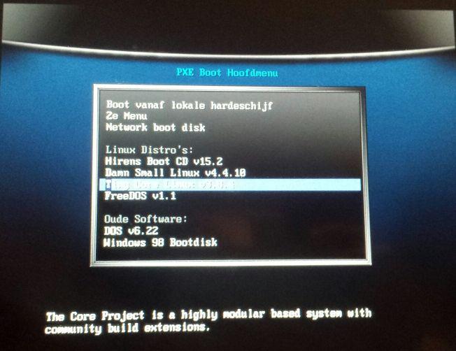 PXE boot vesamenu voorbeeld