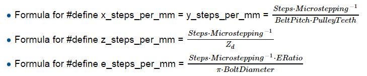 Prusa i2 Mendel instructie formules