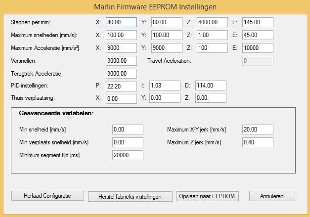 Prusa i3 - Eeprom instellingen