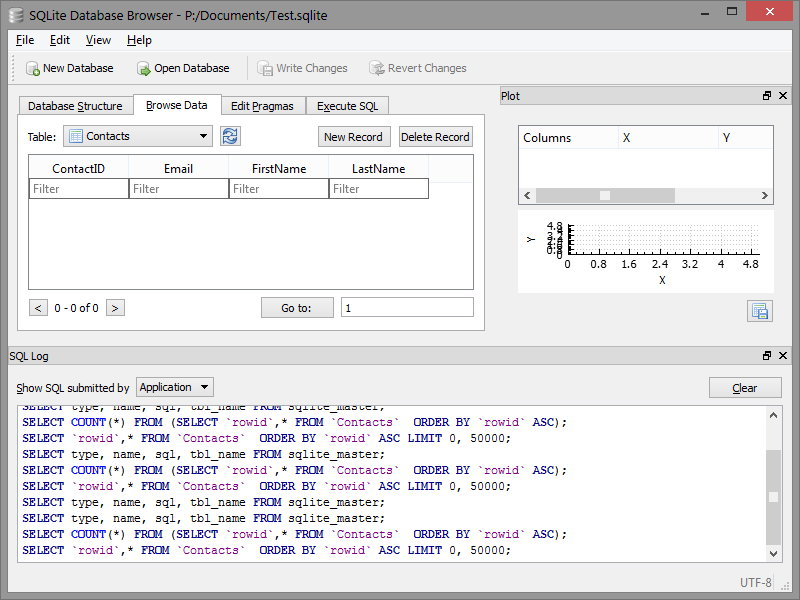 Database bekijken - SQLite browser