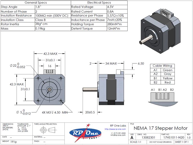 Stepper Motor, NEMA 17, 17HS1011-N20