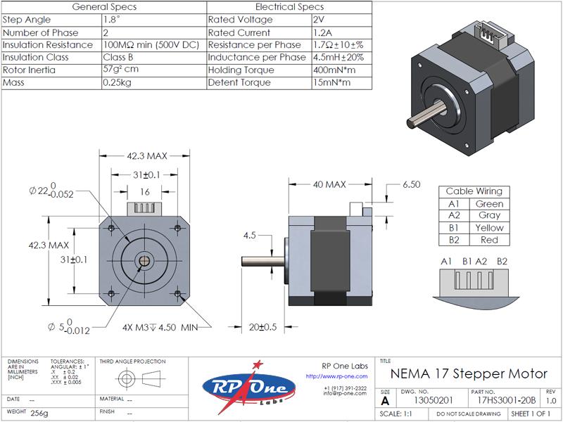 Stepper Motor, NEMA 17, 17HS3001-20B