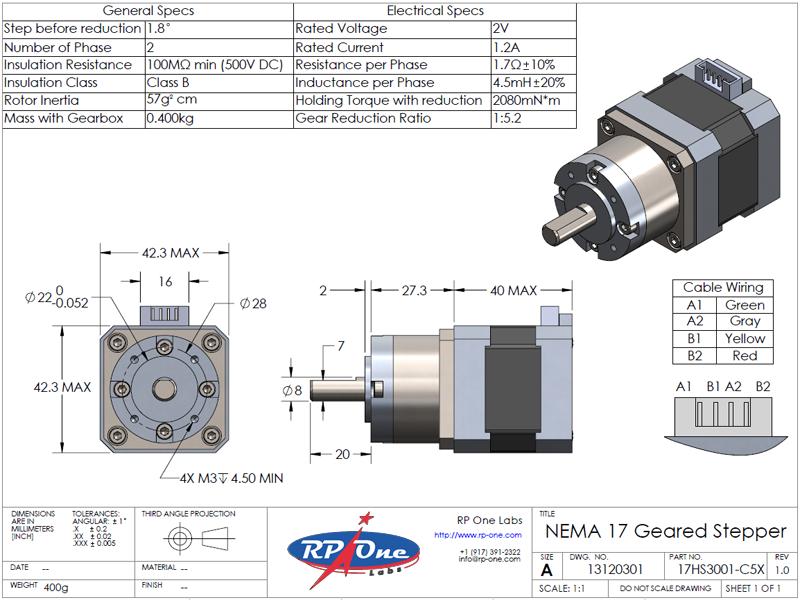 Stepper Motor, NEMA 17, 17HS3001-C5X