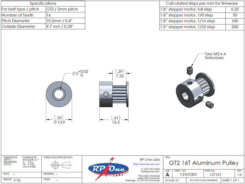 Timing Belt Pulley, GT2 16T, Aluminum