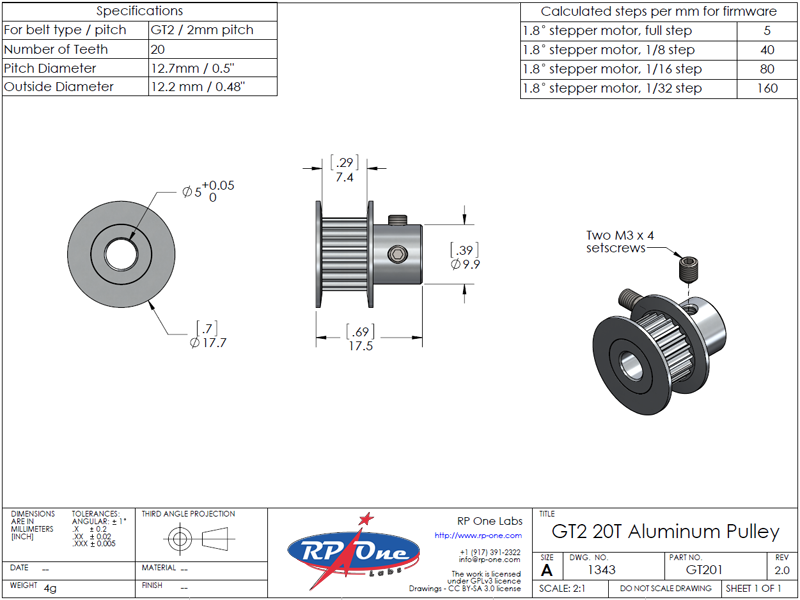 Timing Belt Pulley, GT2 20T, Aluminum, 5mm bore