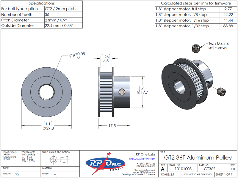 Timing Belt Pulley, GT2 36T, Aluminum, 8mm Bore