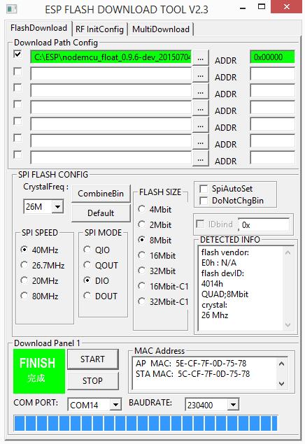 ESP8266 NodeMCU firmware flashen