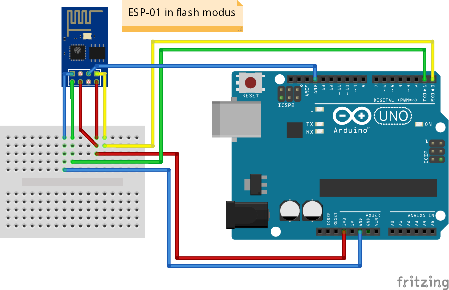 ESP8266 WiFi ESP-01 aansluiten in flash modus via Arduino