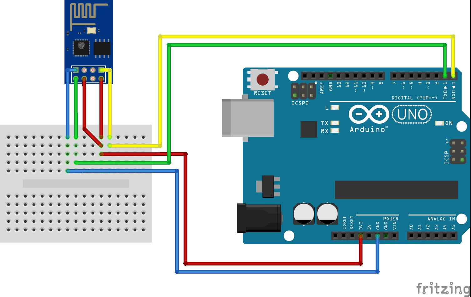 ESP8266 WiFi ESP-01 aansluiten via Arduino
