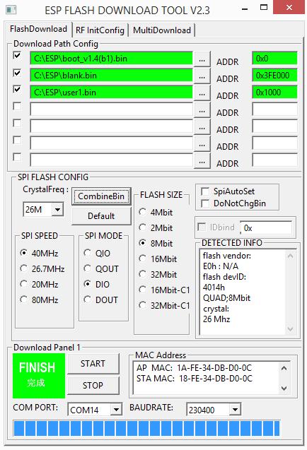 ESP8266 esp-link firmware flashen