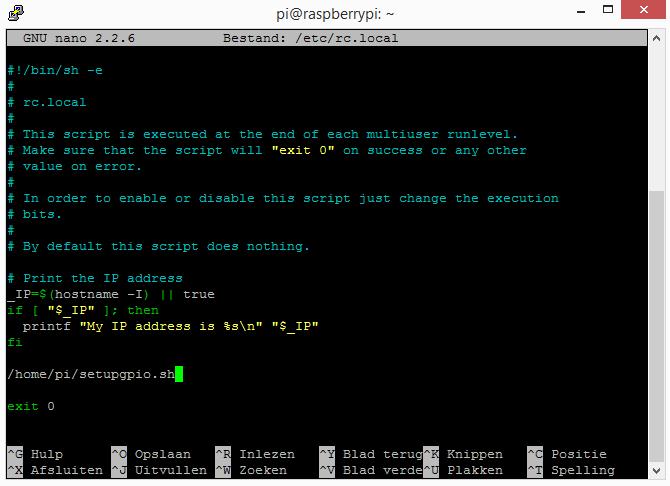 Raspberry Pi gpio pin status instellen bij opstarten
