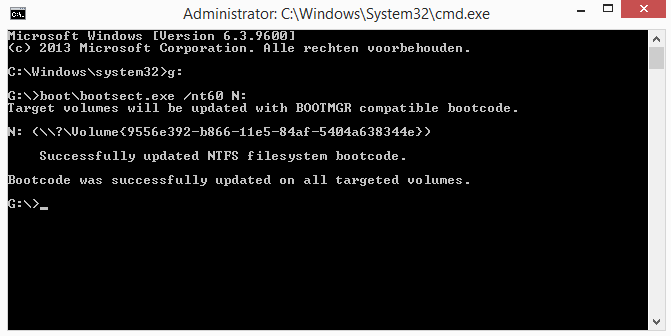 Windows bootsector op USB stick