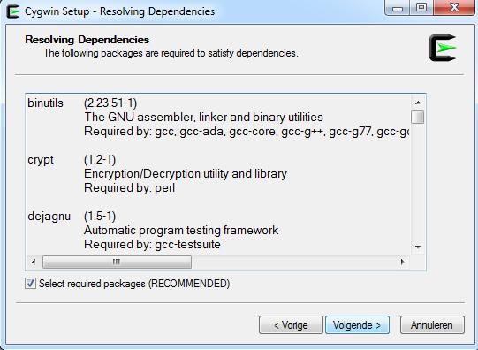 cygwin install gcc dep