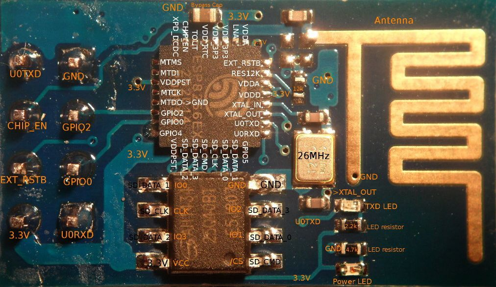esp8266 ESP-01 board layout