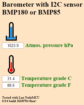 esp8266 NodeMCU bmp180 webinterface