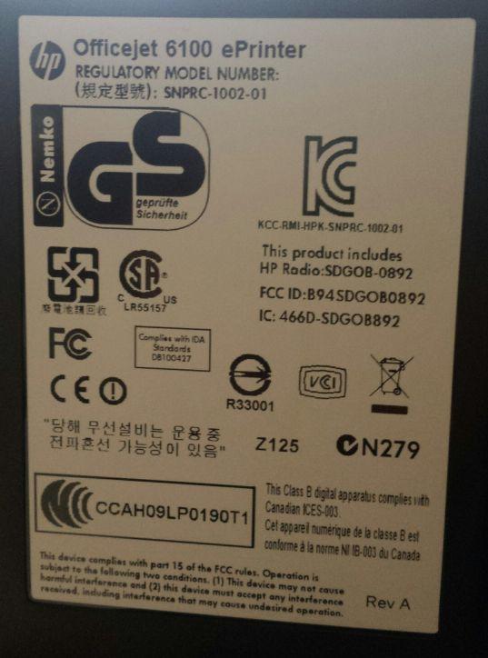 hp officejet 6100 typeplaatje