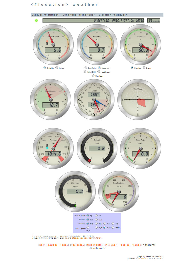 Steelseries Weather Gauges screen
