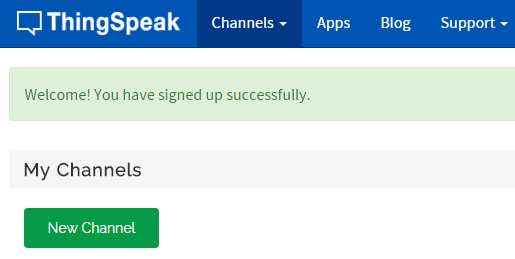 Thingspeak account aanmaken succes
