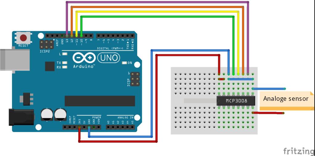 Arduino met MCP3008 schema