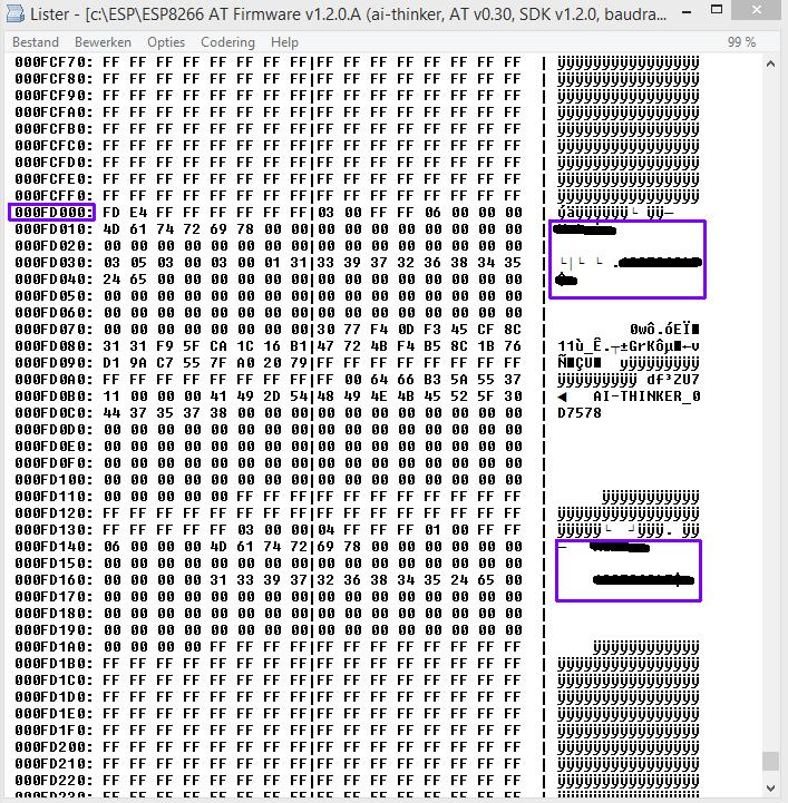 ESP8266 AT firmware HEX code wachtwoord lokatie