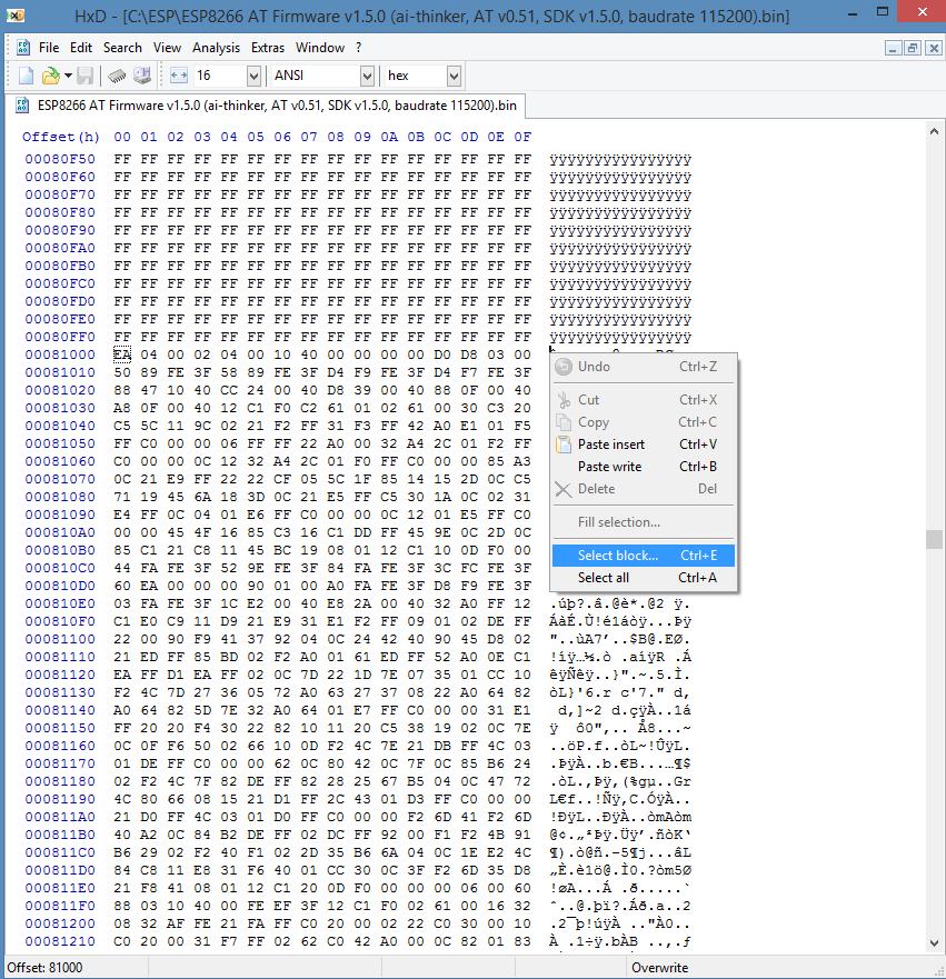 ESP8266 AT firmware HEX code wachtwoord reset 01