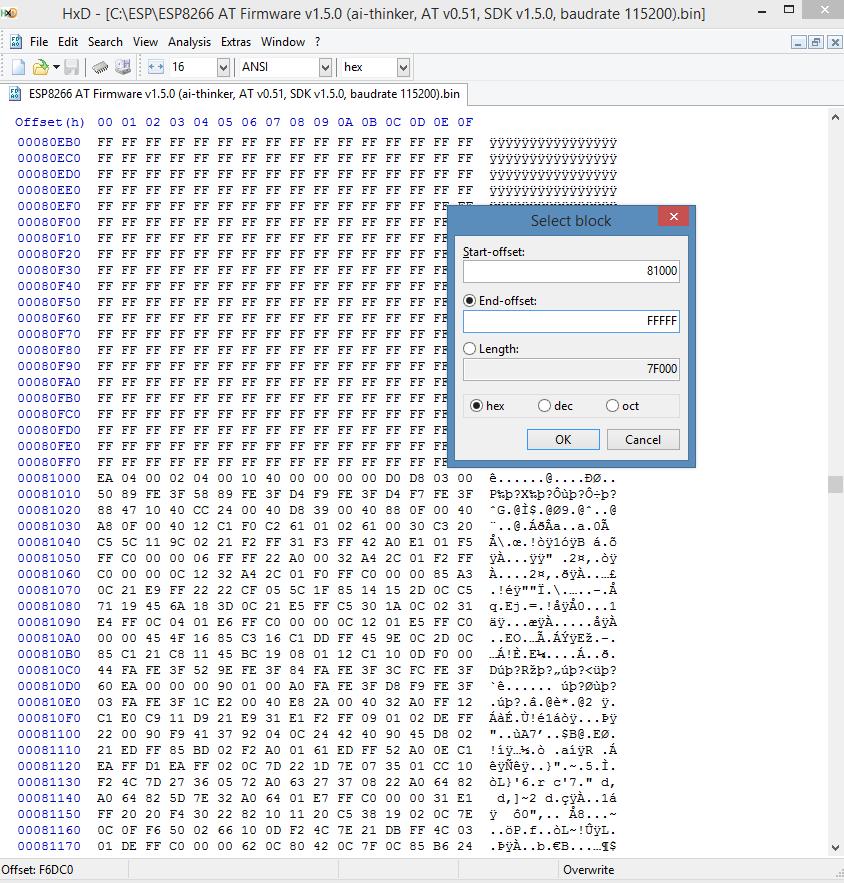 ESP8266 AT firmware HEX code wachtwoord reset 02