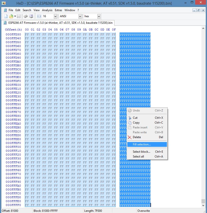 ESP8266 AT firmware HEX code wachtwoord reset 03