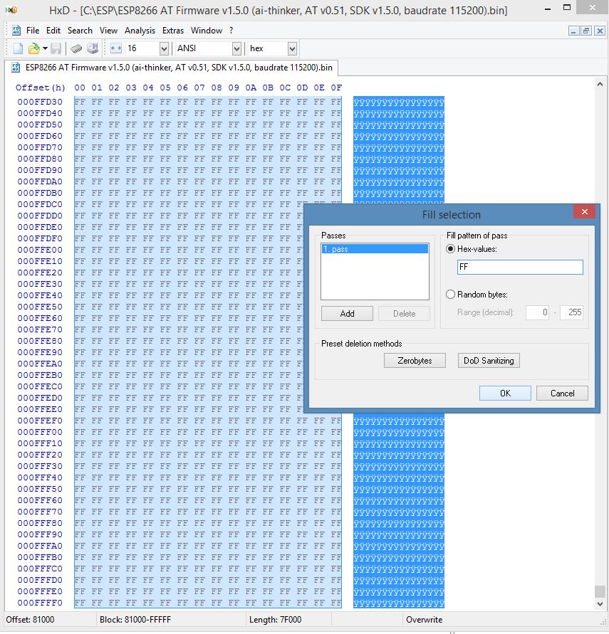 ESP8266 AT firmware HEX code wachtwoord reset 04