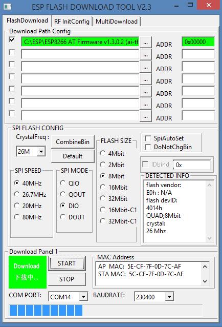 ESP8266 AT firmware flashen